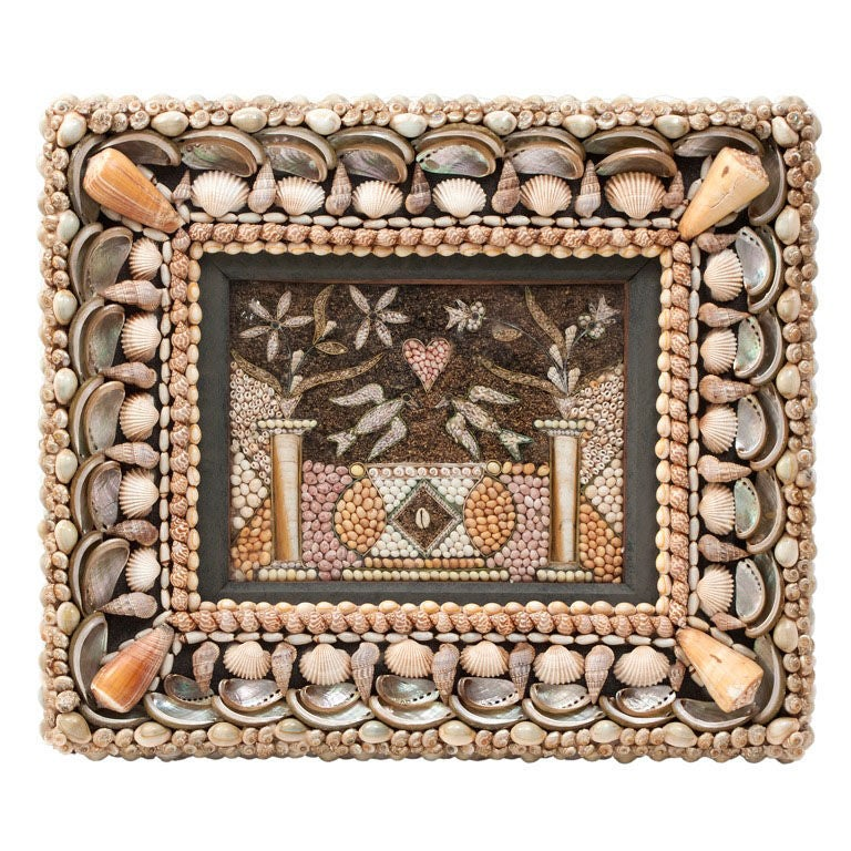 Intricate Sailor's Valentine Shell Picture of Doves and a Heart 1