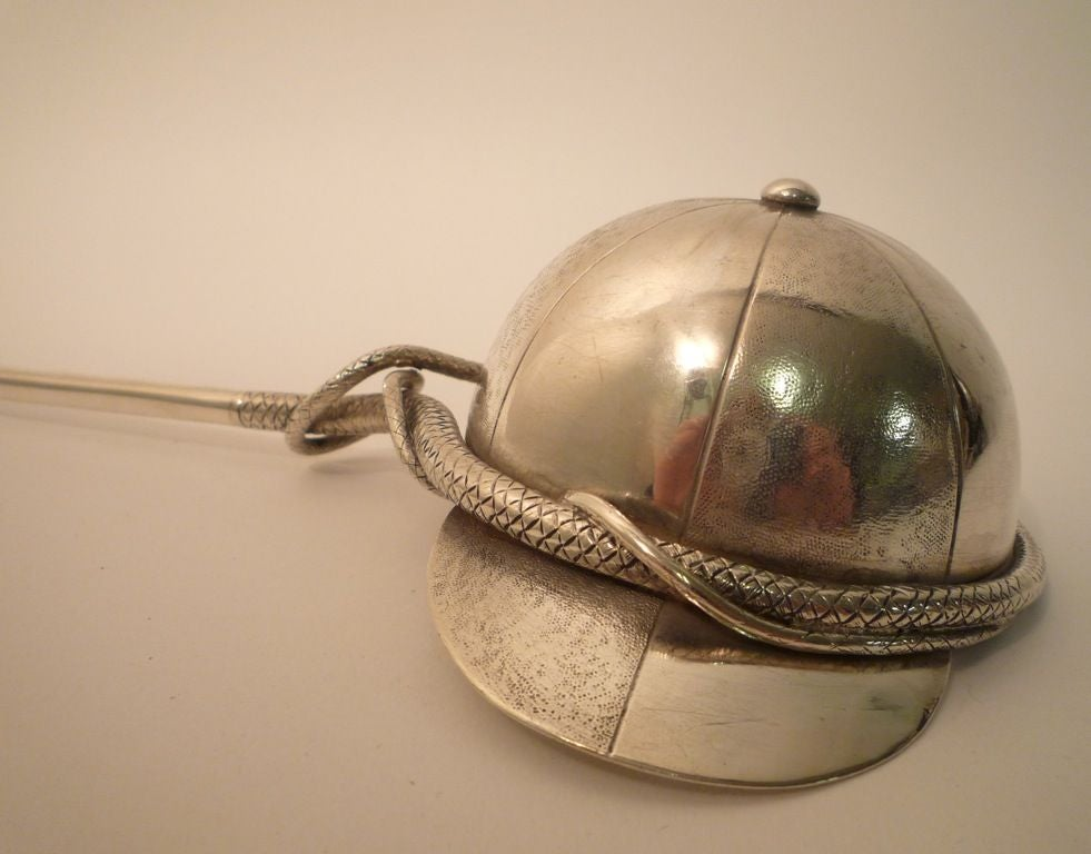 Unusual Silver Punch Ladle- In the Form of a Riding Crop and Cap image 4