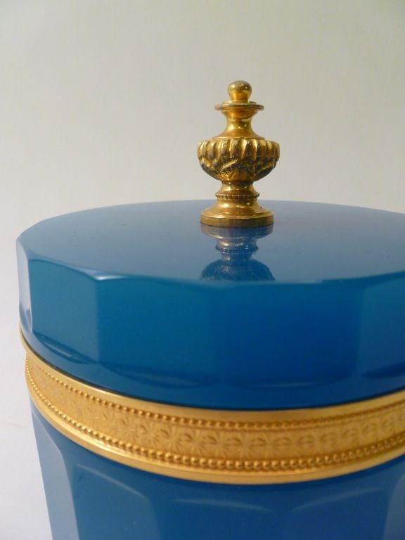 Circular pale blue opaline box and cover with gilt bronze mounts, French c1900