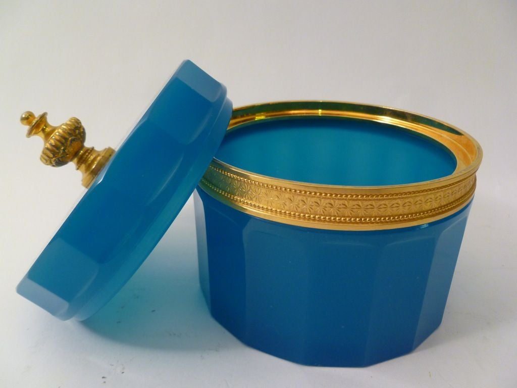 French Blue Opaline Glass Casket