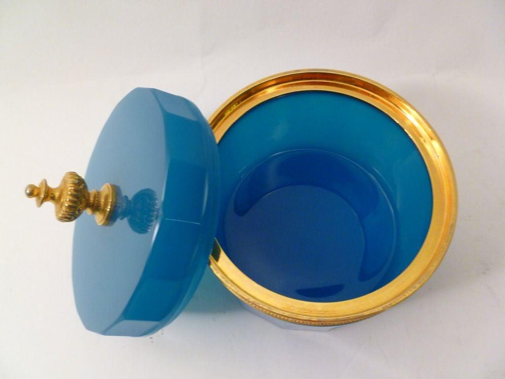 20th Century Blue Opaline Glass Casket