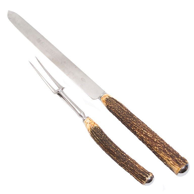Overscale carving knife and fork with antler handles at