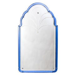 Edwardian Arch Top Mirror with Blue Glass Border