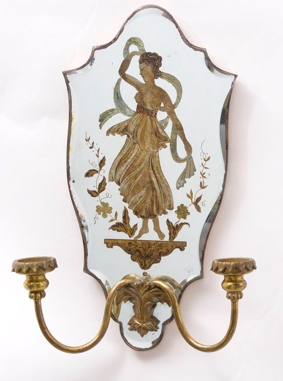 Wall Sconces Beside Mirror : A Pair of French Eglomise Decorated Mirror Back Wall Sconces at 1stdibs