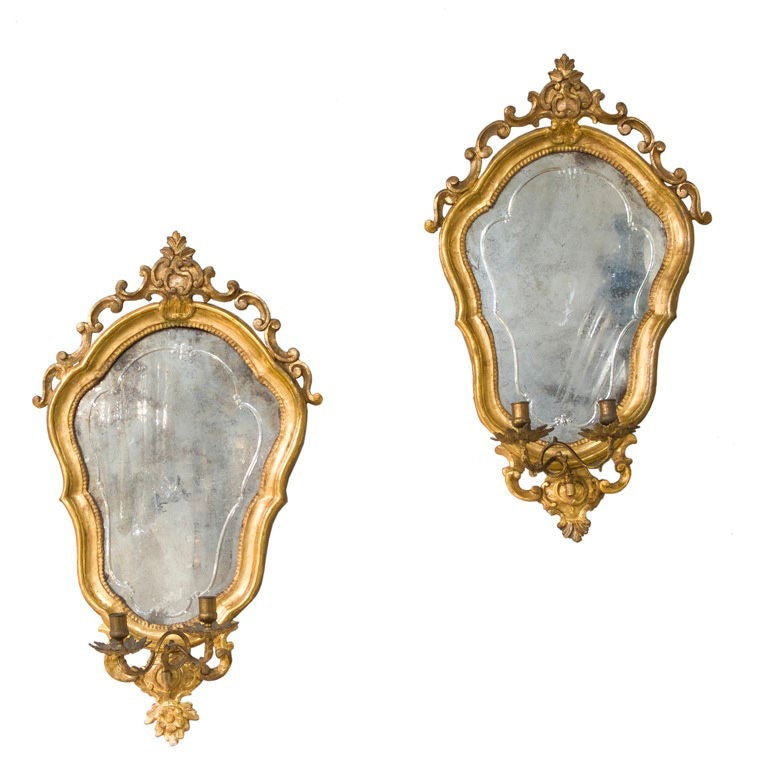 Pair of Shield Shaped Giltwood Mirror Back Wall Sconces at 1stdibs