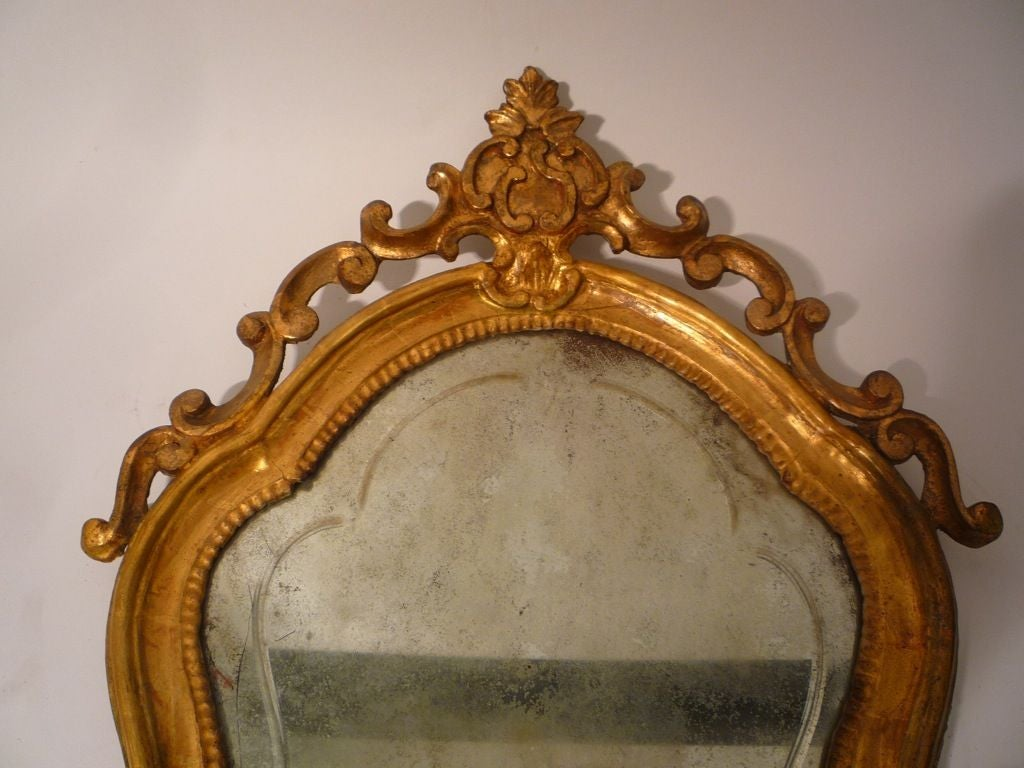 Wall Sconces Beside Mirror : Pair of Shield Shaped Giltwood Mirror Back Wall Sconces at 1stdibs