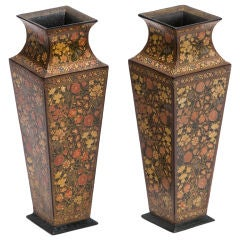 Pair Kashmir Lacquer Square Tapered Vases