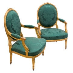 Pair of French Oval Back Giltwood Armchairs