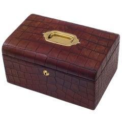Edwardian Crocodile Jewellery Box