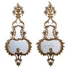 Pair Floral Carved Giltwood Pier Mirrors