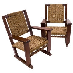 Pair of French Rope Slung Easy Chairs