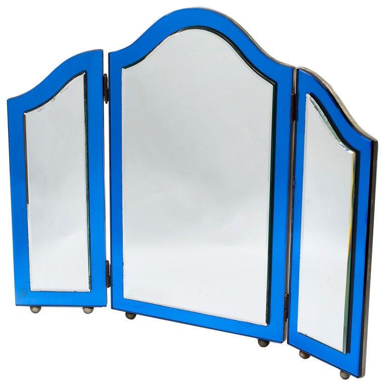 Edwardian Blue Glass Framed Triple Fold Dressing Table