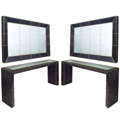 Pair Murano 70's Black Glass Console Tables & Mirrors