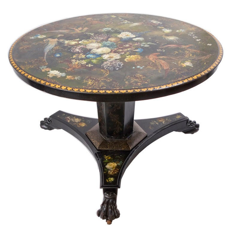 Unique early victorian painted slate breakfast table at for Unique breakfast tables