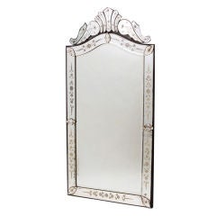 French Venetian Style Arch Top Pier Mirror with Crest
