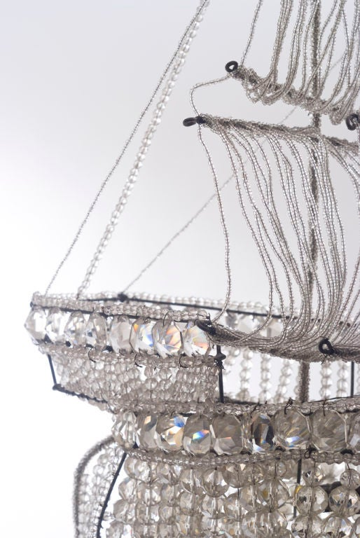 A Beaded Glass and Crystal Ship-Form Chandelier by Bagues 2