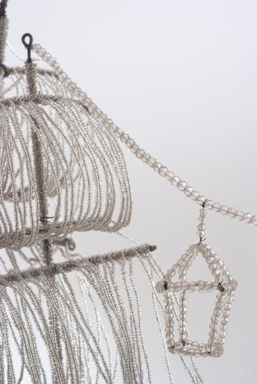 A Beaded Glass and Crystal Ship-Form Chandelier by Bagues 3