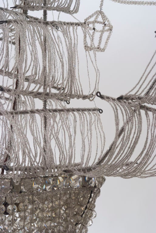A Beaded Glass and Crystal Ship-Form Chandelier by Bagues 5
