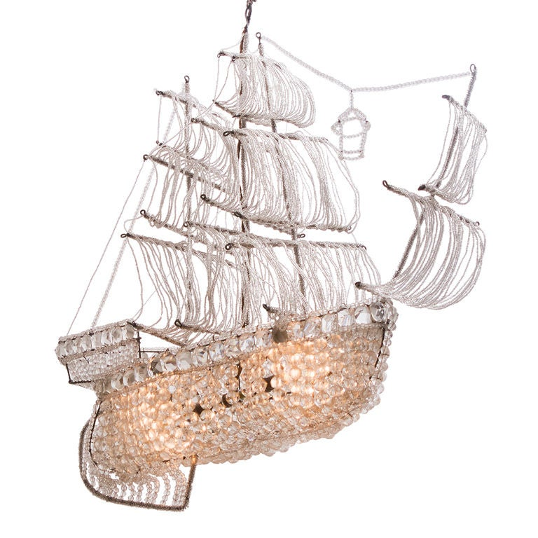 A Beaded Glass and Crystal Ship-Form Chandelier by Bagues