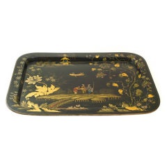 Large Victorian Orientalist Painted Tray