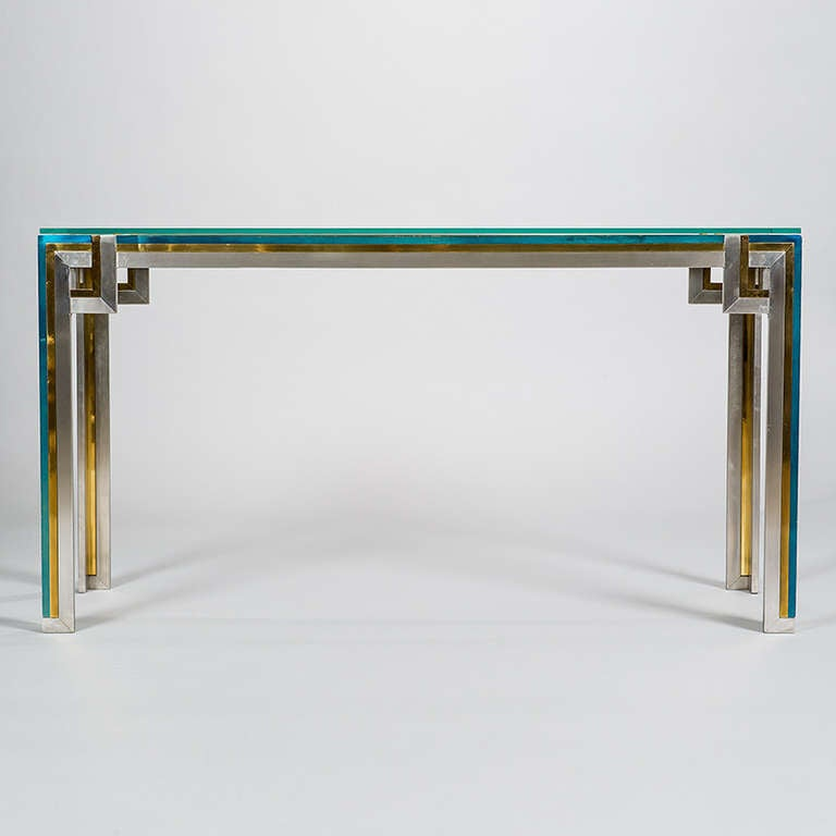 glass and chrome console table narrow glass console table in brass chrome and green lacquered metal with glass top attributed to romeo details for sale at
