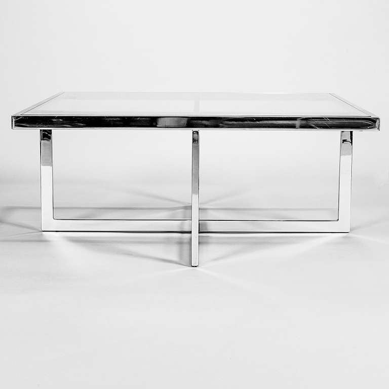 Artimeta Attributed Square Metal And Glass Coffee Table At: Large Chrome And Clear Glass Coffee Table, 1970s At 1stdibs