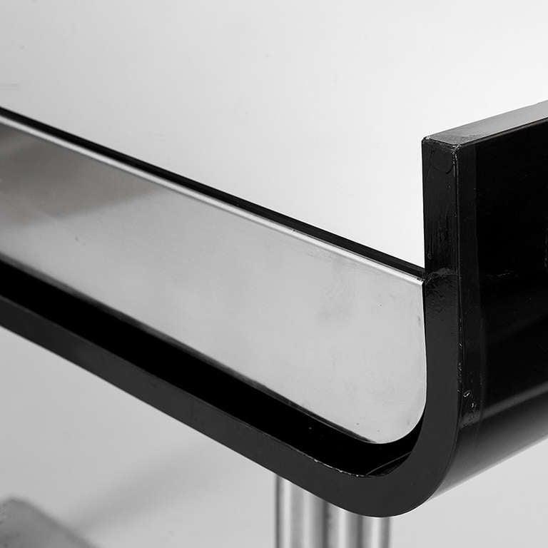 Black Lacquer And Chrome Console Table With Mirrored