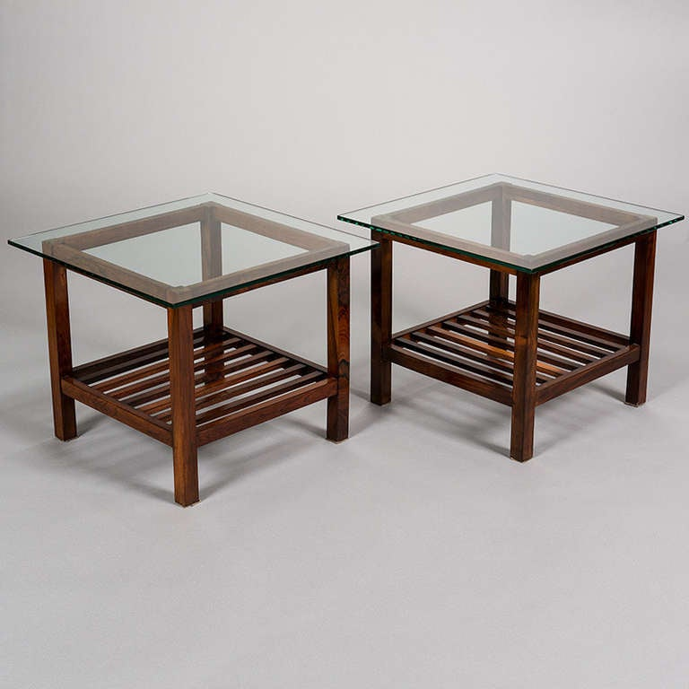 Pair of jacaranda ladder bottom tables and matching centre for Ladder coffee table