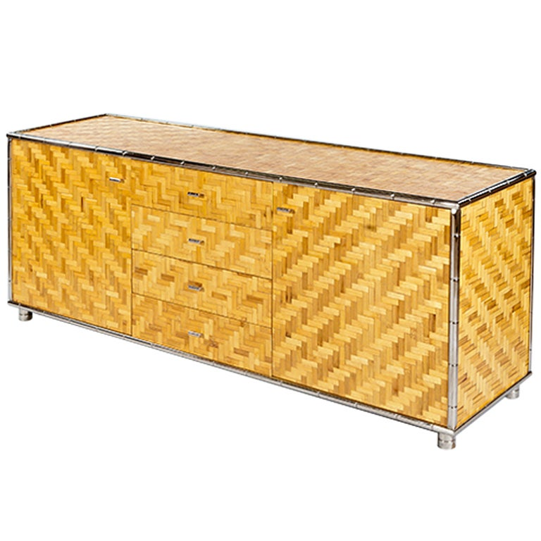 Weave Sideboard With Chrome Trim For Sale At 1stdibs