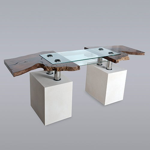 "Stone and Glass ""Titan"" Computer Desk by Pete Carling, 2005 2"