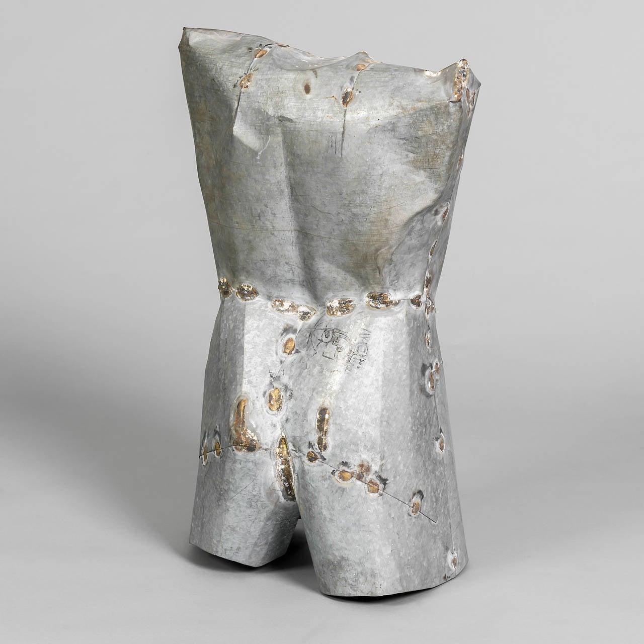 Pressed Pair of Torso Sculptures in Zinc For Sale