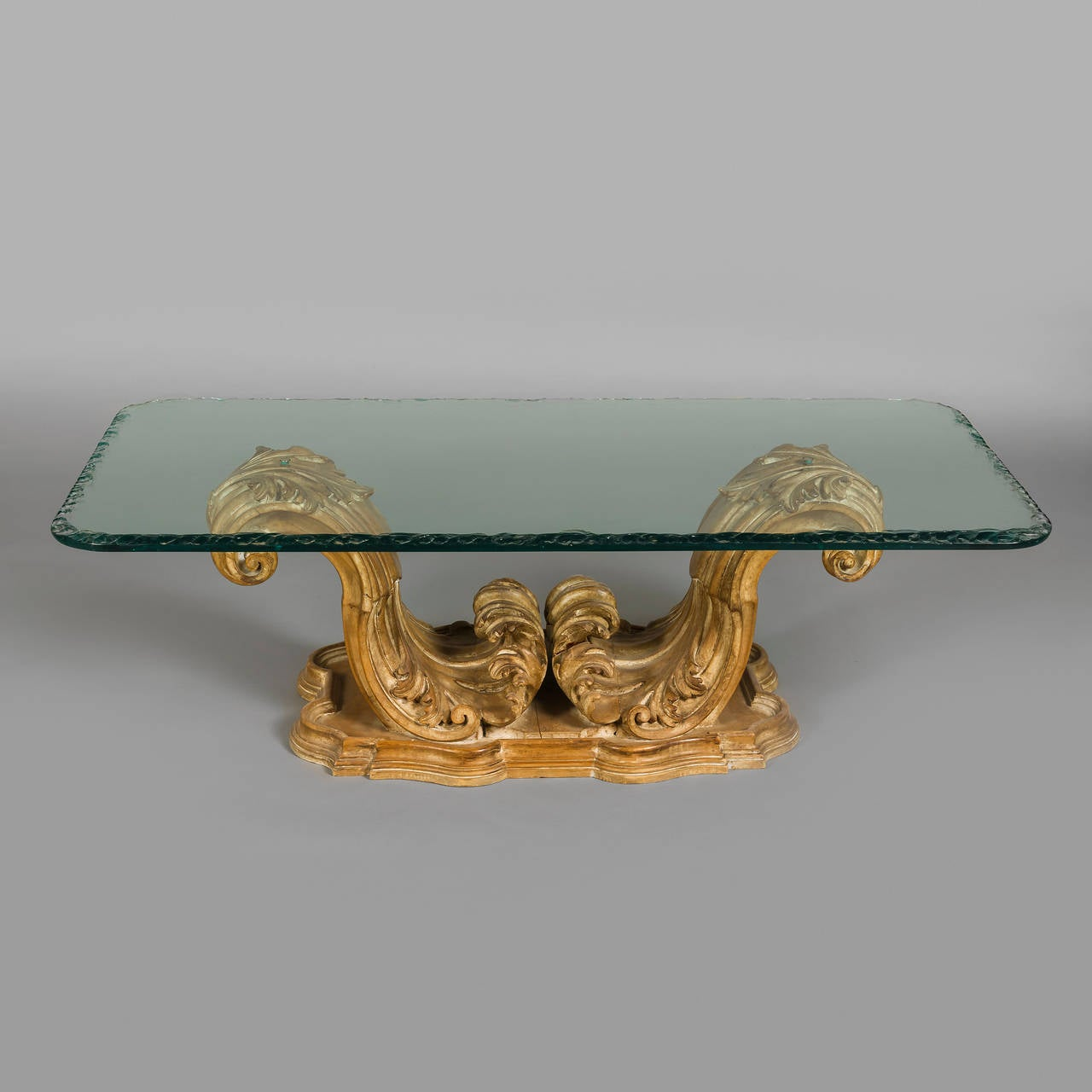 Carved Coffee Table Glass Top Chinese: 1940s Italian Ornately Carved Wood Coffee Table With Glass