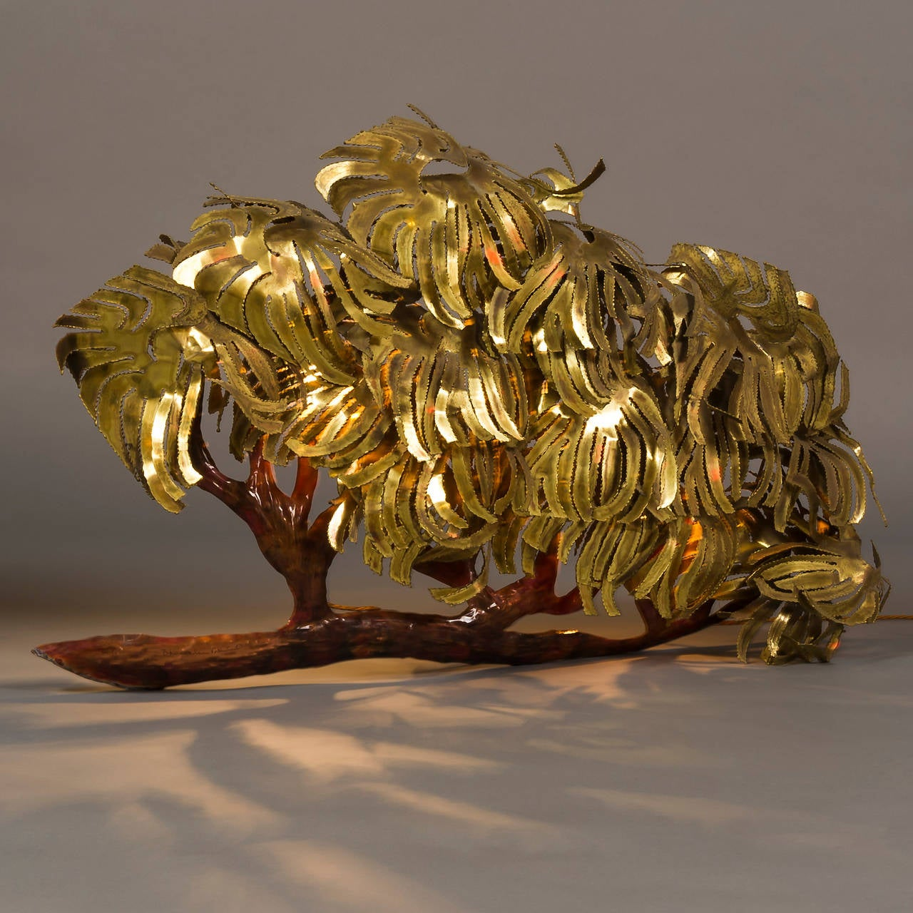 Large And Dramatic 1970s Illuminated Brass And Copper Tree Wall Sculpture For