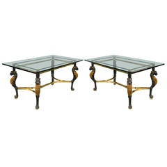 Pair of French 1960s Glass Topped Tables with Lion Motif Legs