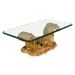 1940s Italian Ornately Carved Wood Coffee Table with Glass Top