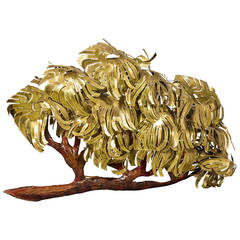 Large and Dramatic 1970s Illuminated Brass and Copper Tree Wall Sculpture