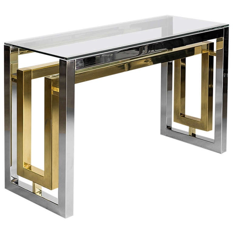Pair Of Chrome And Brass Plated Steel Console Tables With Clear Glass Tops  For Sale