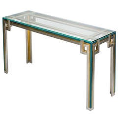 Console Table with Green Lacquered Details and Glass Top