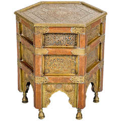 Islamic Octagonal 19th Century Coffee Table with Calligraphy