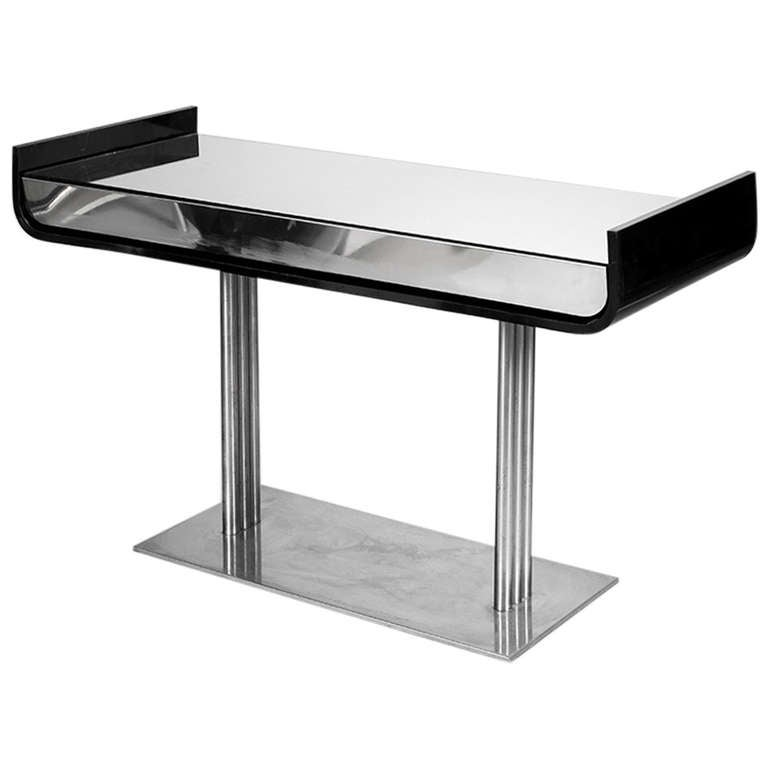 Black Lacquer And Chrome Console Table With Mirrored Surface, 1960s 1
