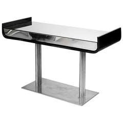 Black Lacquer and Chrome Console Table with Mirrored Surface, 1960s