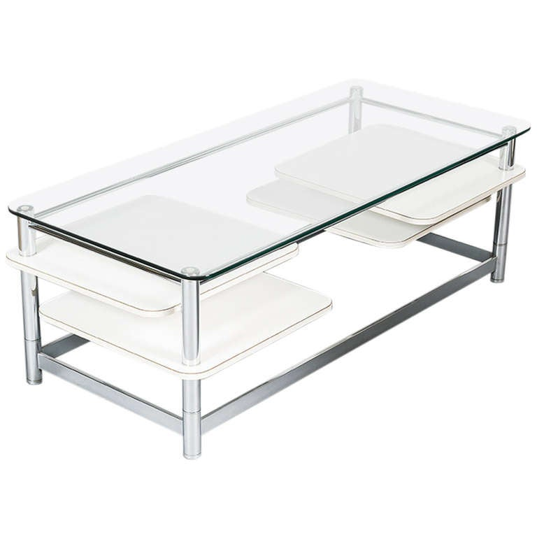 Rectangular 1970s Glass Top Coffee Table With Rotating Arms At 1stdibs