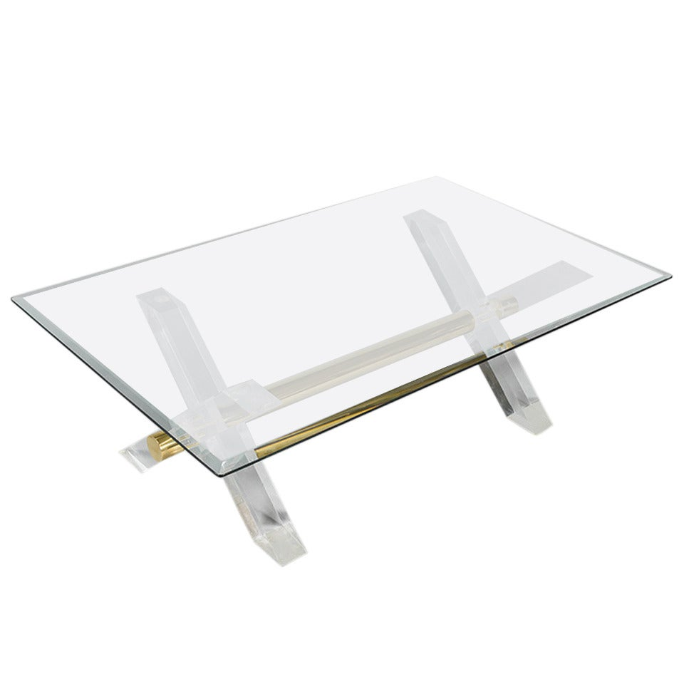 1970s Glass Topped Coffee Table With Perspex Legs And Brass Details For Sale At 1stdibs