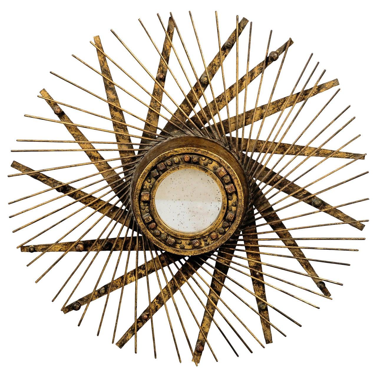 Aluminum Brass Working France: 1950s Brutalist Metal Mirror, France For Sale At 1stdibs