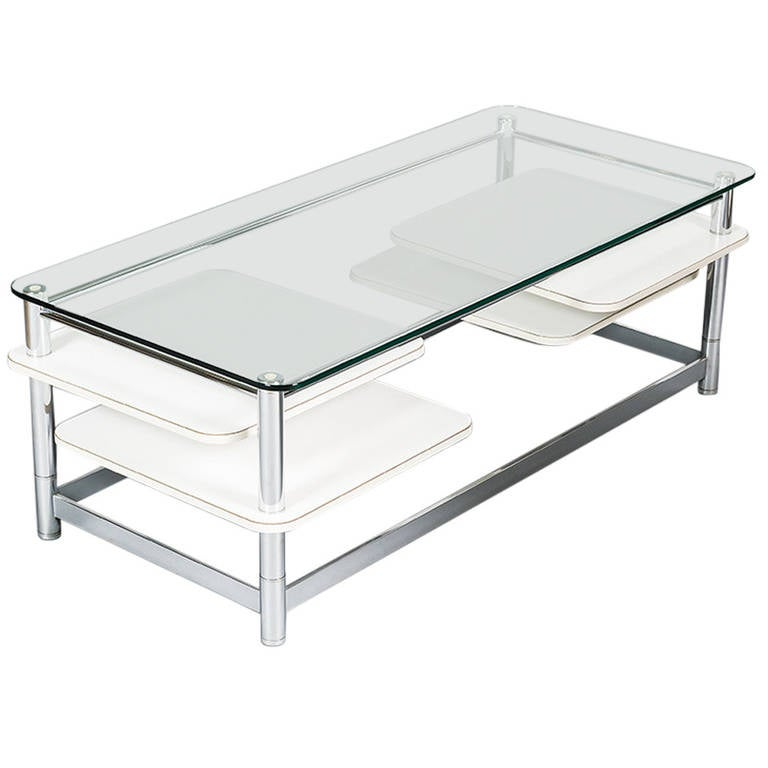 Rectangular 1970s Chrome Glass Topped Coffee Table with Swivel Out Shelves