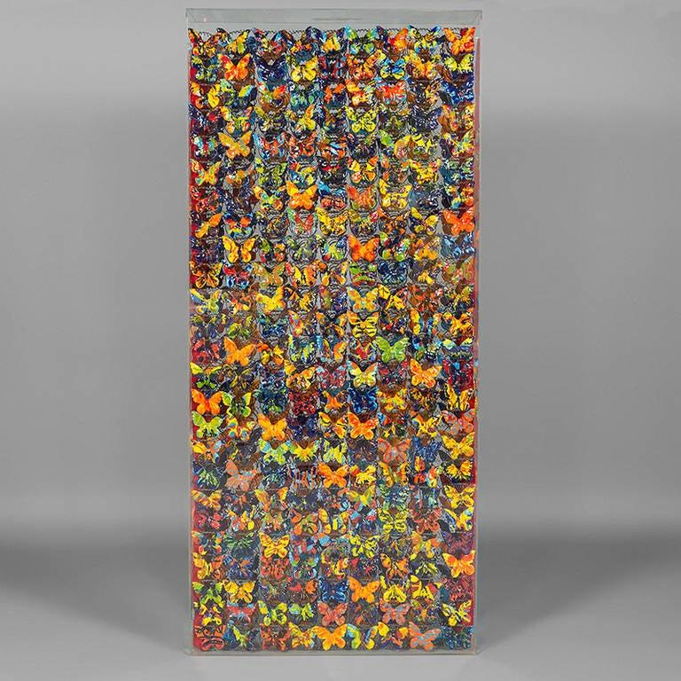 Dalla Primavera del Botticelli by Marcello Lo Giudice (Italian, 1955), Perspex case, with multi-coloured ceramic butterflies set into metal bed springs. Italy, 1999