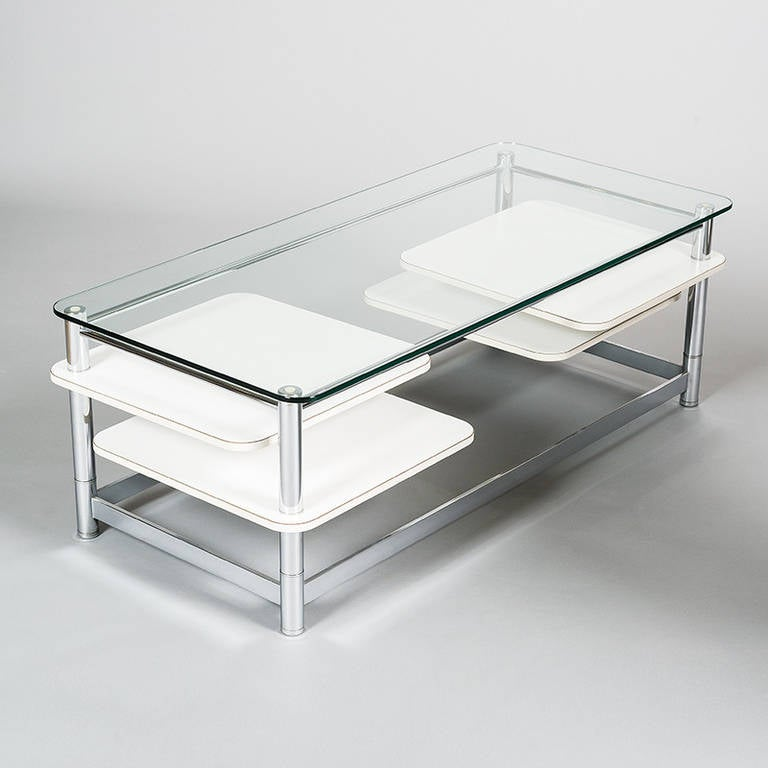 Rectangular 1970s Chrome Glass Topped Coffee Table with Swivel Out