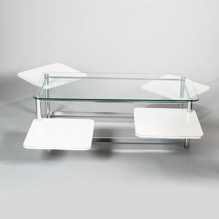 Emerson Rectangular Mod Swivel Coffee Table W Glass: Rectangular 1970s Chrome Glass Topped Coffee Table With