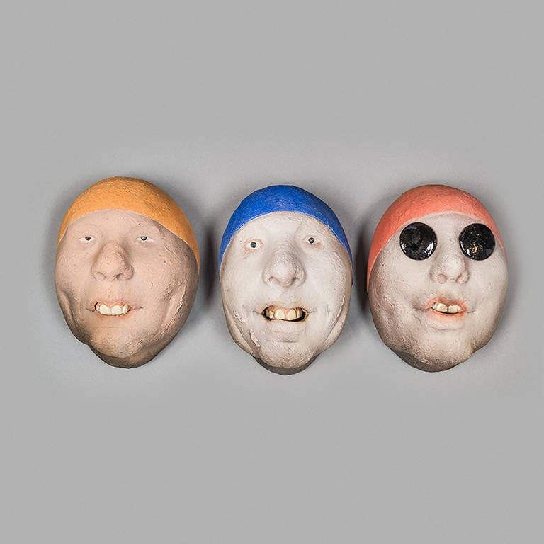 Swedish Assorted Ceramic Masks by Johan Thunell For Sale