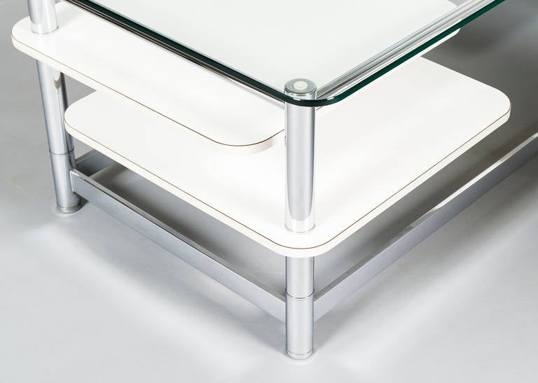 Rectangular 1970s Chrome Glass Topped Coffee Table With Swivel Out Shelves For Sale At 1stdibs